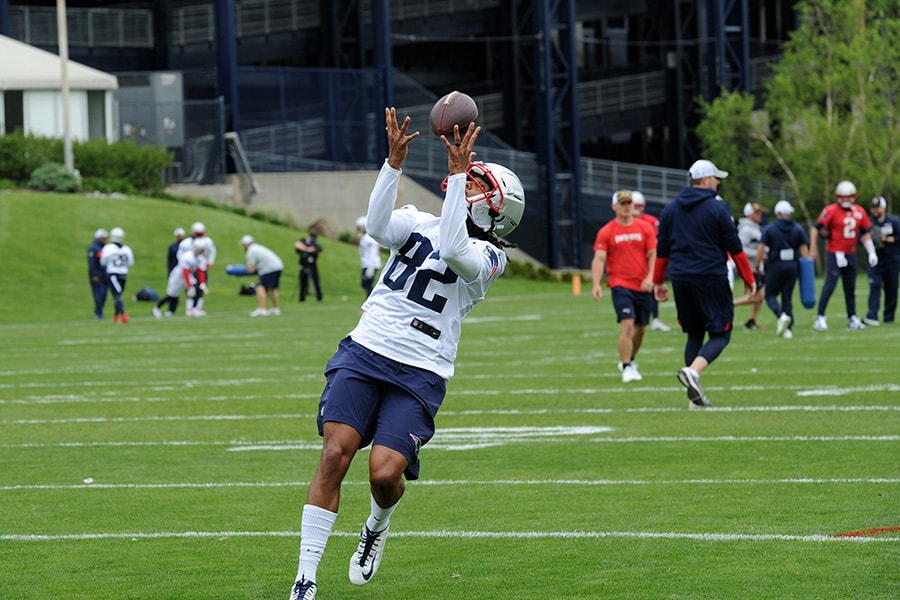 May 23, 2019; Foxborough, MA: New England Patriots wide receiver Maurice Harris catches a pass during organized team activities at Gillette Stadium practice field. (Bob DeChiara-USA TODAY Sports)