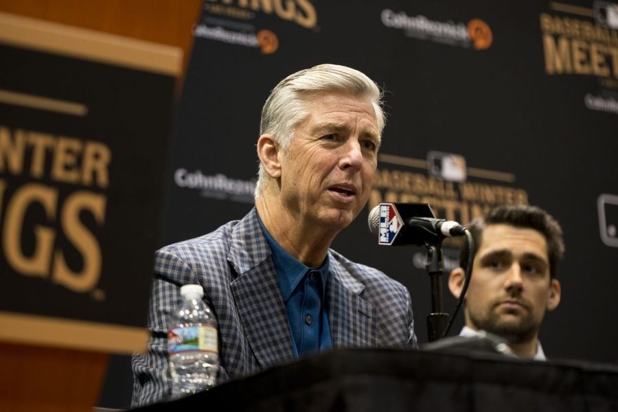 Dec 10, 2018; Las Vegas, NV: President of baseball operations for the Boston Red Sox Dave Dombrowski talks to the media during the MLB Winter Meetings at the Mandalay Bay Convention Center. (Daniel Clark-USA TODAY Sports)