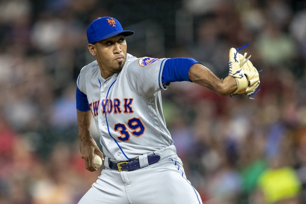 Jul 16, 2019; Minneapolis, MN: New York Mets relief pitcher Edwin Diaz delivers a pitch in the ninth inning against the Minnesota Twins at Target Field. (Jesse Johnson-USA TODAY Sports)