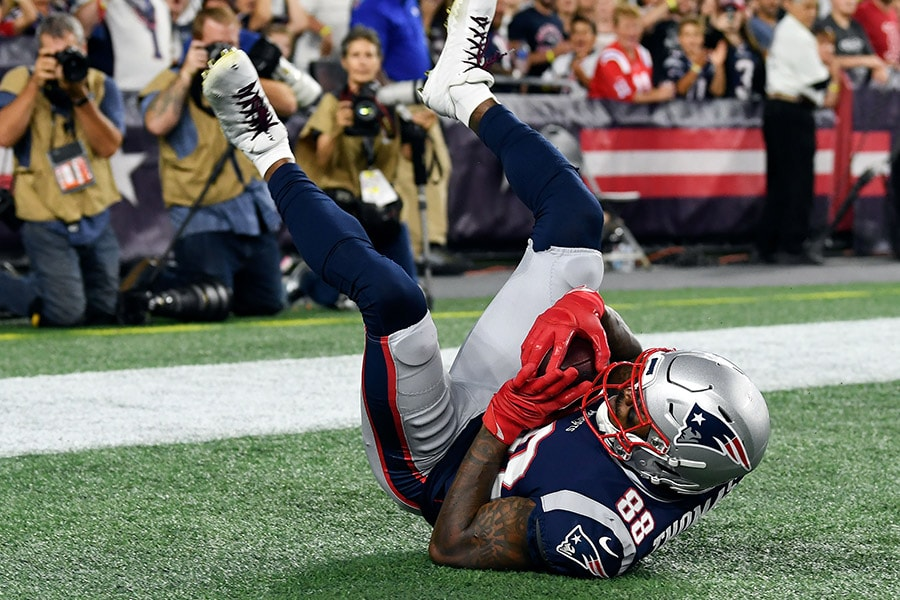 Aug 29, 2019; Foxborough, MA: New England Patriots wide receiver Demaryius Thomas makes a catch for a touchdown against the New York Giants during the first half at Gillette Stadium. (Brian Fluharty-USA TODAY Sports)