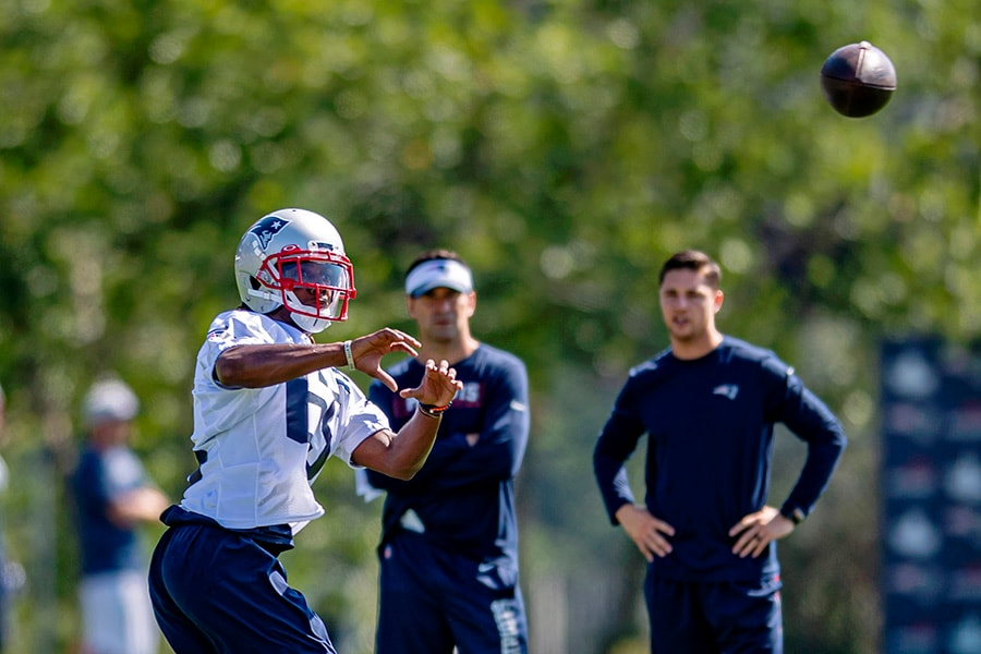 Jul 25, 2019; Foxborough, MA: New England Patriots wide receiver Jakobi Meyers runs patterns during the 2019 season opening Training Camp at Gillette Stadium. (Ed Wolfstein-USA TODAY Sports)