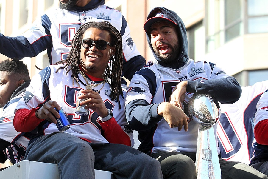Feb 5, 2019; Boston, MA: New England Patriots linebacker Dont'a Hightower and linebacker Kyle Van Noy ride a truck during the Super Bowl LIII championship parade. (Stew Milne-USA TODAY Sports)