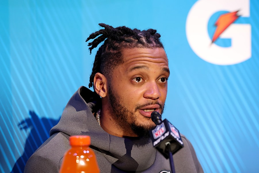 ATLANTA, GEORGIA - JANUARY 28: Patrick Chung #23 of the New England Patriots talks to the media during Super Bowl LIII Opening Night at State Farm Arena on January 28, 2019 in Atlanta, Georgia. (Photo by Rob Carr/Getty Images)