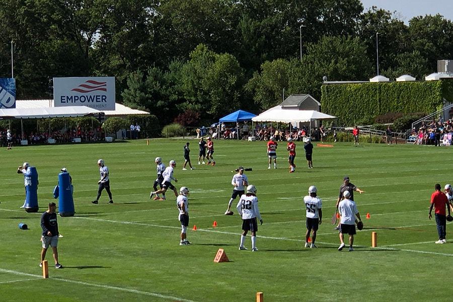 The New England Patriots practice during training camp on August 2, 2019 in Foxborough, Mass. (Matt Dolloff/WBZ-FM)