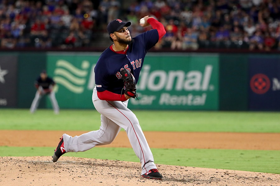 Eduardo Rodriguez of the Boston Red Sox pitches against the Texas Rangers in the bottom of the fourth inning at Globe Life Park in Arlington on September 24, 2019 in Arlington, Texas. (Photo by Tom Pennington/Getty Images)