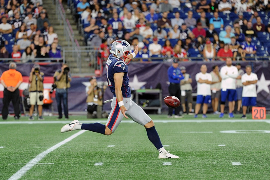 Aug 29, 2019; Foxborough, MA: New England Patriots punter Jake Bailey punts the ball during the second half against the New York Giants at Gillette Stadium. (Bob DeChiara-USA TODAY Sports)