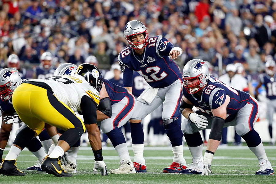 Sep 8, 2019; Foxborough, MA: New England Patriots quarterback Tom Brady signals a play against the Pittsburgh Steelers during the first half at Gillette Stadium. (Greg M. Cooper-USA TODAY Sports)