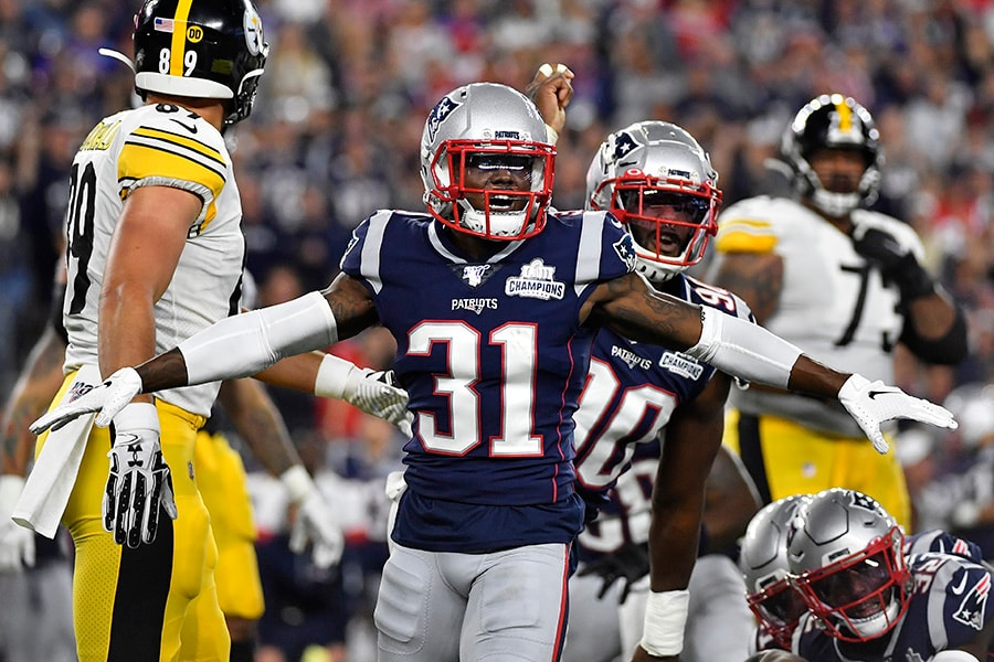 Jonathan Jones of the New England Patriots reacts during the first half against the Pittsburgh Steelers at Gillette Stadium on September 08, 2019 in Foxborough, Massachusetts. (Photo by Kathryn Riley/Getty Images)