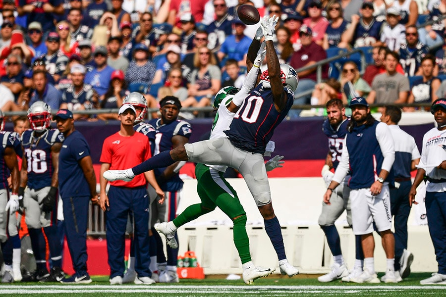 Daryl Roberts of the New York Jets is called for pass interference as he defends Josh Gordon of the New England Patriots during the second quarter of a game against the New York Jets at Gillette Stadium on September 22, 2019 in Foxborough, Massachusetts. (Photo by Billie Weiss/Getty Images)