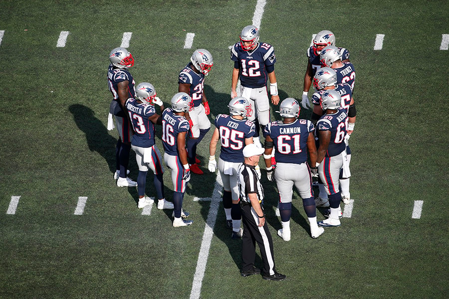 Sep 22, 2019; Foxborough, MA: New England Patriots quarterback Tom Brady in the huddle during the second half against the New York Jets at Gillette Stadium. (Greg M. Cooper-USA TODAY Sports)