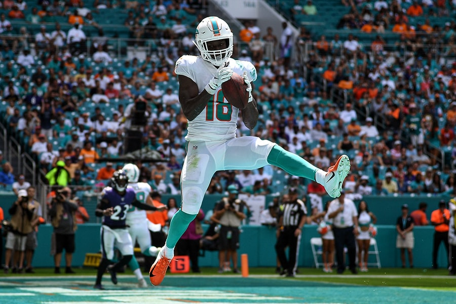 Preston Williams #18 of the Miami Dolphins catches a touchdown in the second quarter against the Baltimore Ravens at Hard Rock Stadium on September 08, 2019 in Miami, Florida. (Photo by Mark Brown/Getty Images)