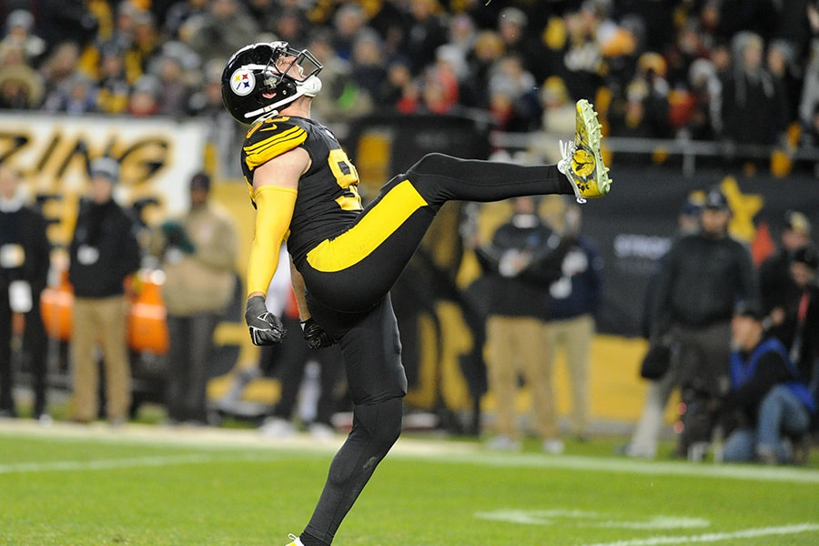 Dec 16, 2018; Pittsburgh, PA: Pittsburgh Steelers linebacker T.J. Watt celebrates a third quarter sack against the New England Patriots at Heinz Field. (Philip G. Pavely-USA TODAY Sports)