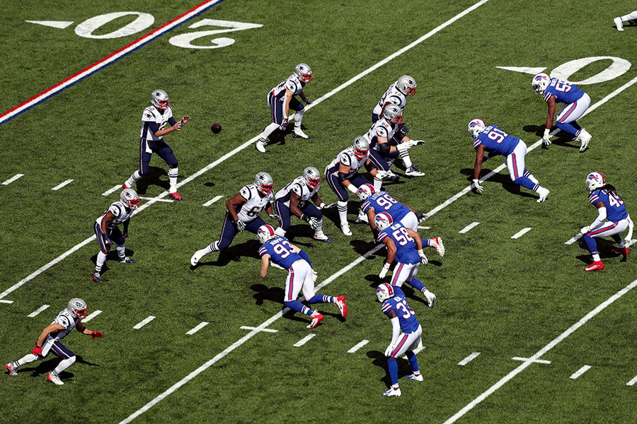 The New England Patriots offense runs a play against the Buffalo Bills at New Era Field on September 29, 2019 in Orchard Park, New York. (Photo by Bryan M. Bennett/Getty Images)