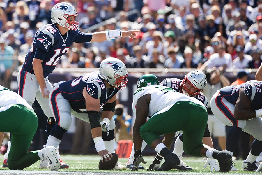 Tom Brady of the New England Patriots in action in the first quarter against the New York Jets at Gillette Stadium on September 22, 2019 in Foxborough, Massachusetts. (Photo by Kathryn Riley/Getty Images)