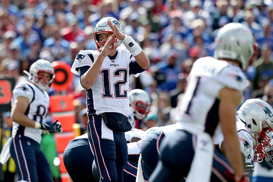 Tom Brady of the New England Patriots calls a timeout during the second quarter of a game against the Buffalo Bills at New Era Field on September 29, 2019 in Orchard Park, New York. (Photo by Bryan M. Bennett/Getty Images)