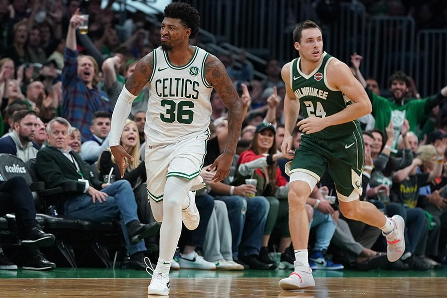 Oct 30, 2019; Boston, MA: Boston Celtics guard Marcus Smart reacts after his three point basket against the Milwaukee Bucks in the fourth quarter at TD Garden. The Celtics defeated the Milwaukee Bucks 116-105. (David Butler II-USA TODAY Sports)