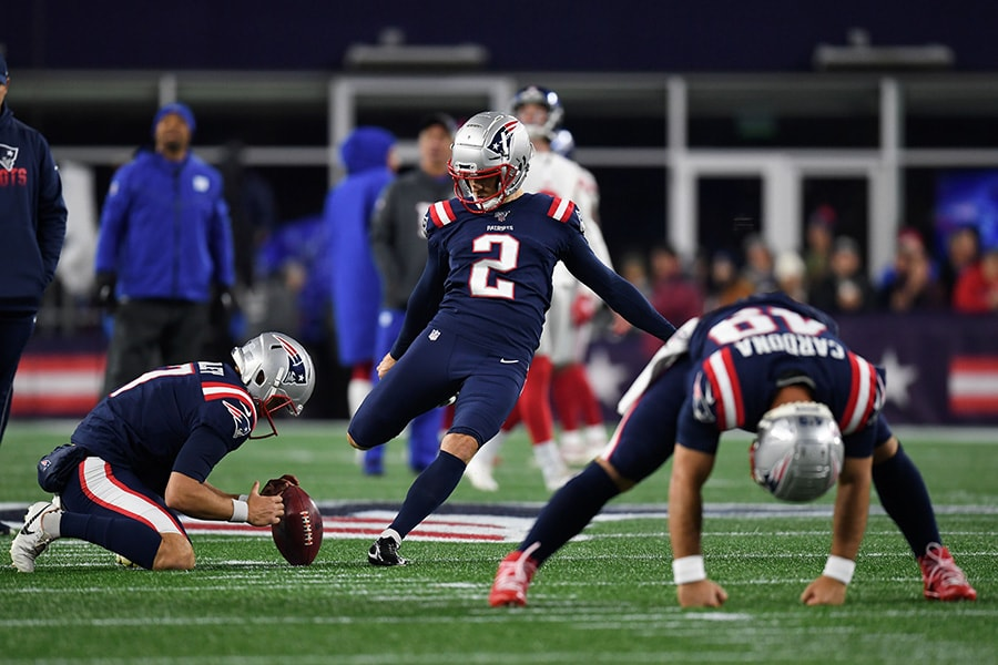 Oct 10, 2019; Foxborough, MA: New England Patriots kicker Mike Nugent warms-up before a game against the New York Giants at Gillette Stadium. (Bob DeChiara-USA TODAY Sports)