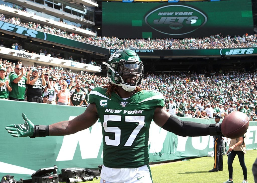 Sep 8, 2019; East Rutherford, NJ: New York Jets inside linebacker C.J. Mosley celebrates after a fumble recovery during the first half against the Buffalo Bills at MetLife Stadium. (Vincent Carchietta-USA TODAY Sports)
