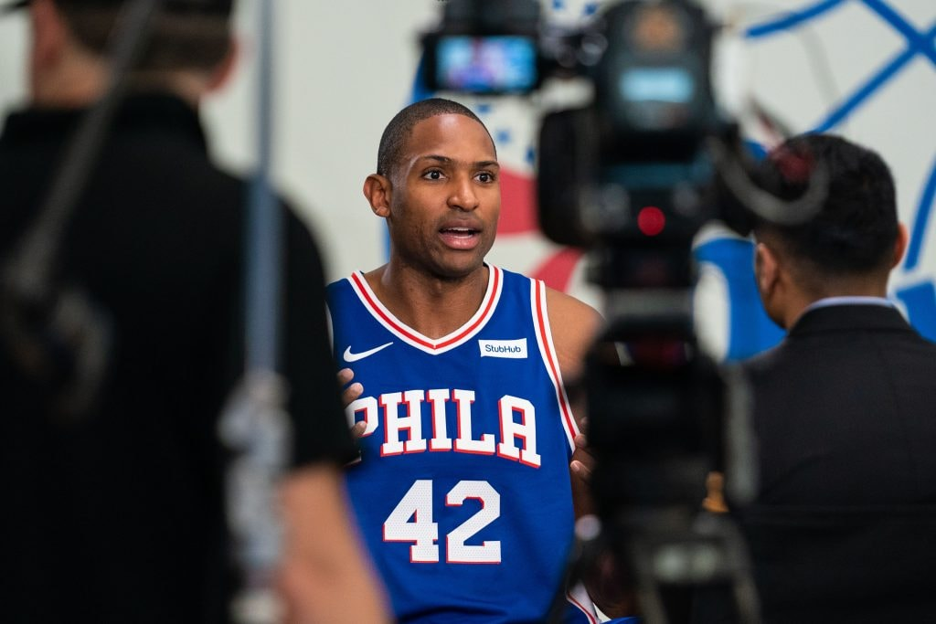 Sep 30, 2019; Philadelphia, PA: Philadelphia 76ers center Al Horford is interviewed during media day at the Philadelphia 76ers Training Complex. (Bill Streicher-USA TODAY Sports)