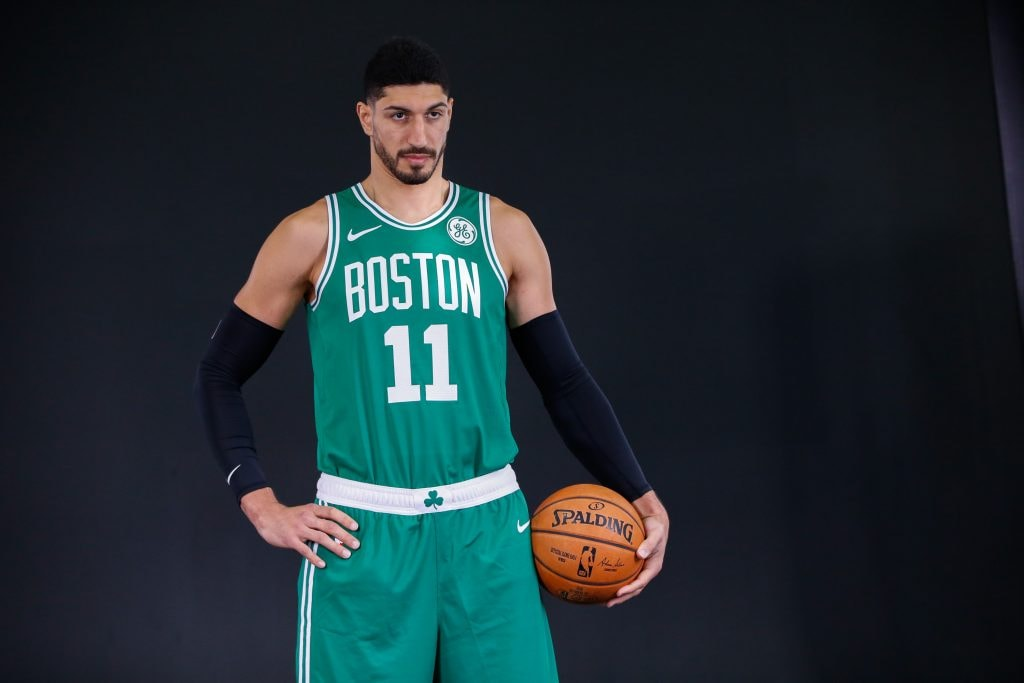 Sep 30, 2019; Canton, MA, USA; Boston Celtics center Enes Kanter (11) poses for a portrait during media day at High Output Studios. (Greg M. Cooper-USA TODAY Sports)