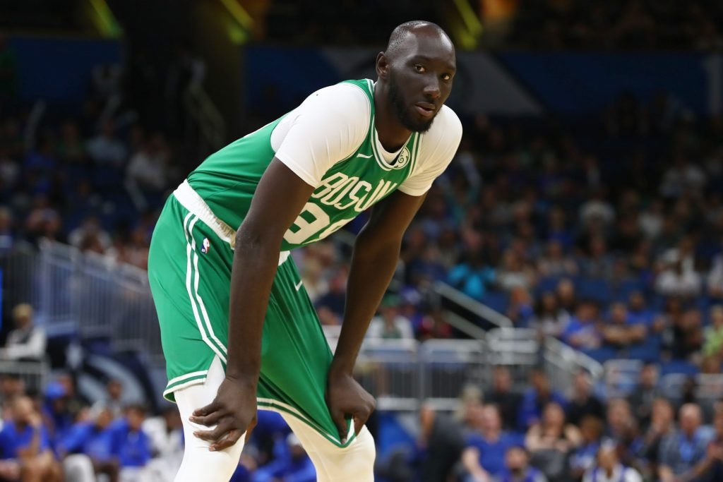 Oct 11, 2019; Orlando, FL: Boston Celtics center Tacko Fall looks on against the Orlando Magic during the second half at Amway Center. (Kim Klement-USA TODAY Sports)