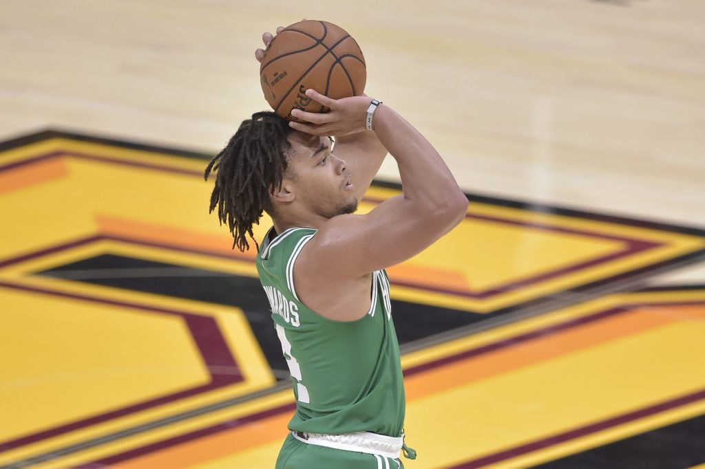 Oct 15, 2019; Cleveland, OH: Boston Celtics guard Carsen Edwards shoots a three-point basket in the third quarter against the Cleveland Cavaliers at Rocket Mortgage FieldHouse. (David Richard-USA TODAY Sports)