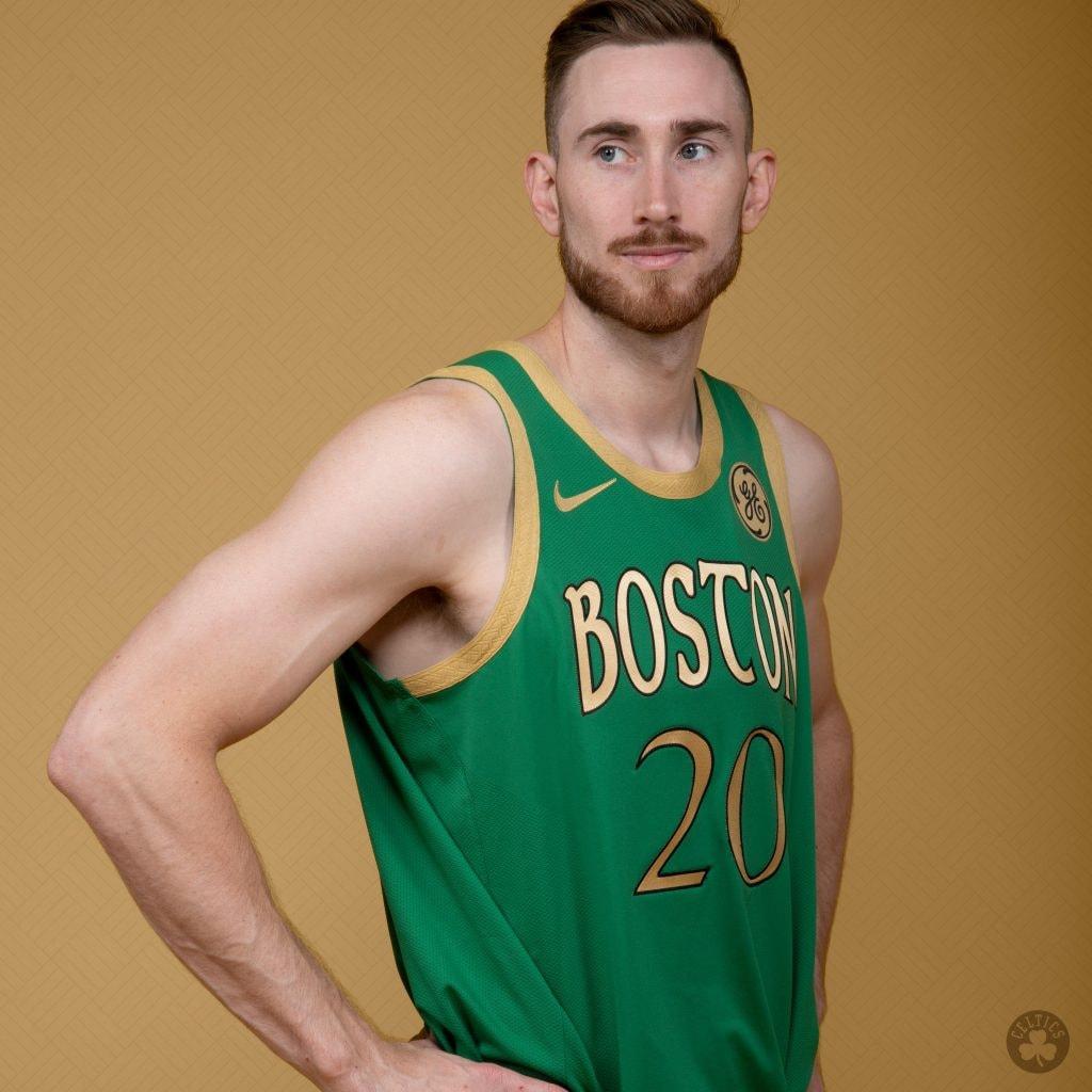 "Gordon Hayward wears a new ""city edition"" uniform for the Boston Celtics. (@Celtics/Twitter)"