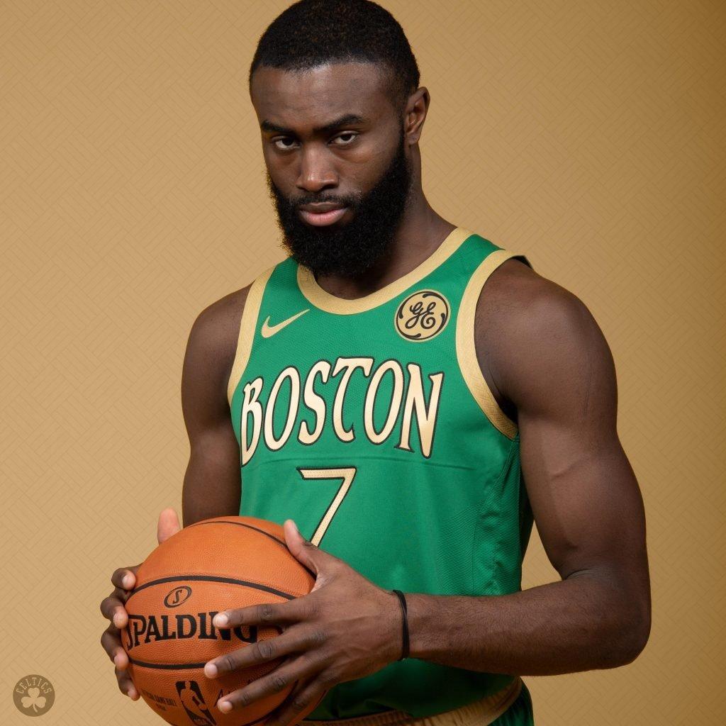 "Jaylen Brown wears a new ""city edition"" uniform for the Boston Celtics. (@Celtics/Twitter)"