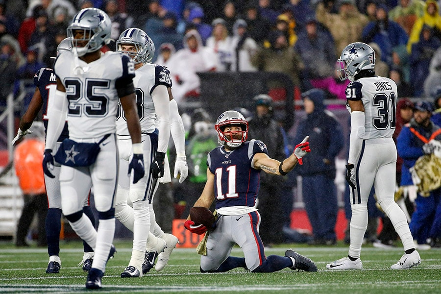 Nov 24, 2019; Foxborough, MA: New England Patriots wide receiver Julian Edelman reacts after a first down reception during the second half against the Dallas Cowboys at Gillette Stadium. (Greg M. Cooper-USA TODAY Sports)