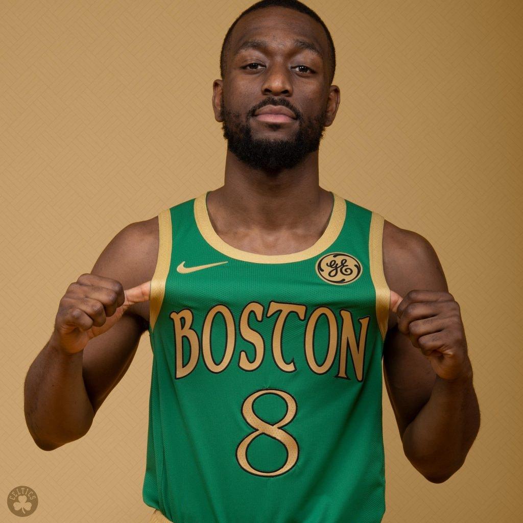 "Kemba Walker wears a new ""city edition"" uniform for the Boston Celtics. (@Celtics/Twitter)"
