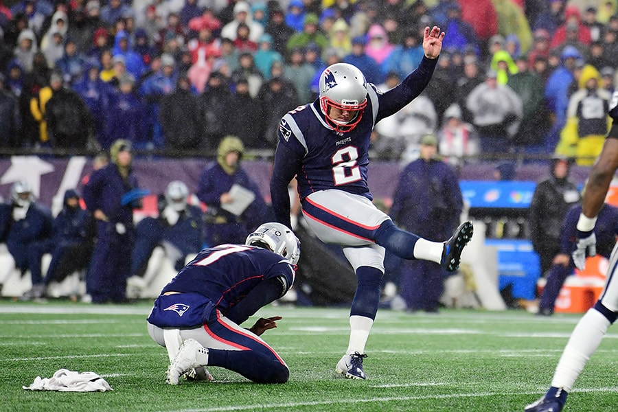Nick Folk is reportedly re-signing with the Patriots after playing seven games for them in 2019. (Photo by Billie Weiss/Getty Images)