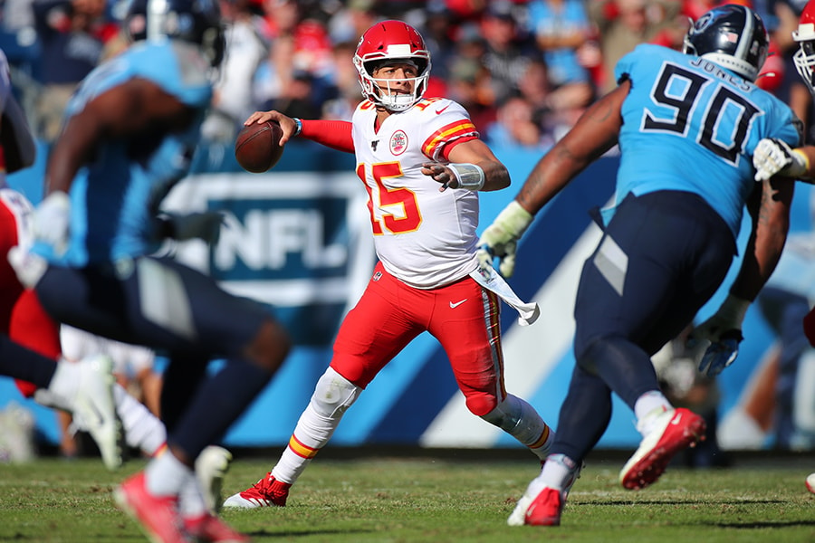 Quarterback Patrick Mahomes of the Kansas City Chiefs looks to pass against the Tennessee Titans in the second quarter at Nissan Stadium on November 10, 2019 in Nashville, Tennessee. (Photo by Brett Carlsen/Getty Images)
