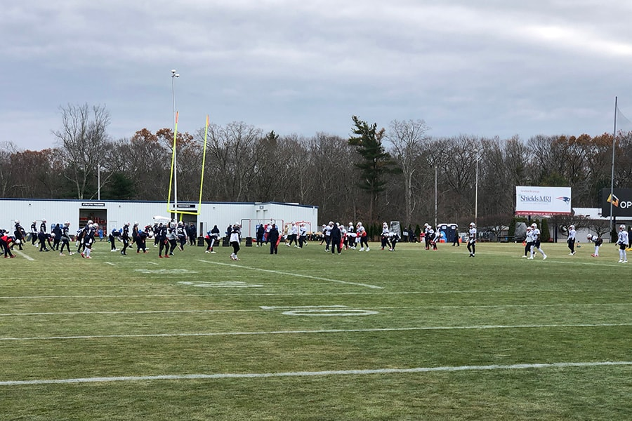 The New England Patriots practice on Nov. 22, 2019 in Foxboro, Mass. (Matt Dolloff/WBZ-FM)