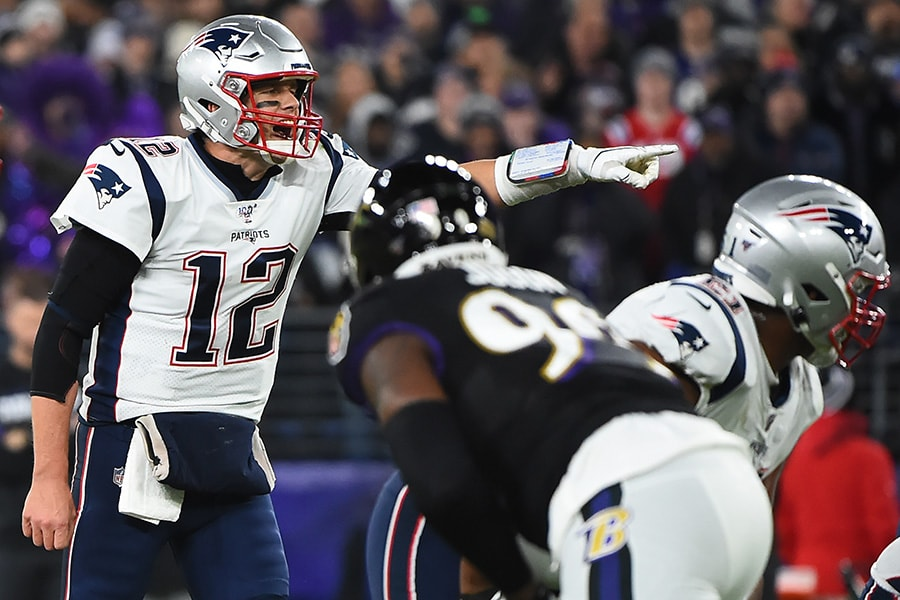 Tom Brady of the New England Patriots gestures against the Baltimore Ravens during the second quarter at M&T Bank Stadium on November 3, 2019 in Baltimore, Maryland. (Photo by Will Newton/Getty Images)