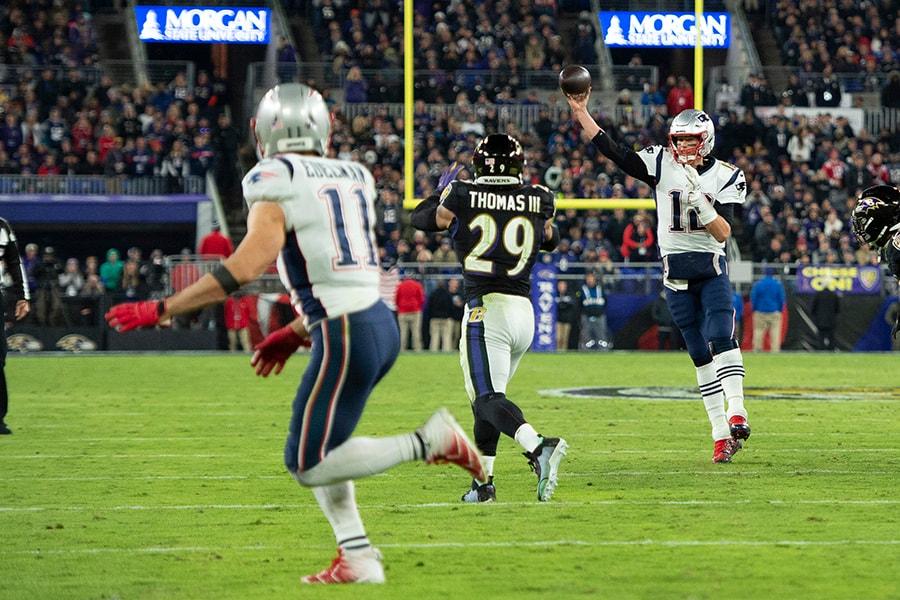 Nov 3, 2019; Baltimore, MD: Patriots quarterback Tom Brady throws to wide receiver Julian Edelman as Baltimore Ravens safety Earl Thomas III applies pressure at M&T Bank Stadium. (Tommy Gilligan-USA TODAY Sports)