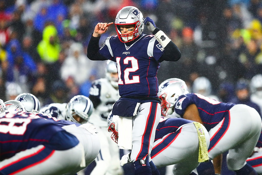 FOXBOROUGH, MA - NOVEMBER 24: Tom Brady of the New England Patriots reacts during a game against the Dallas Cowboys at Gillette Stadium on November 24, 2019 in Foxborough, Massachusetts. (Photo by Adam Glanzman/Getty Images)