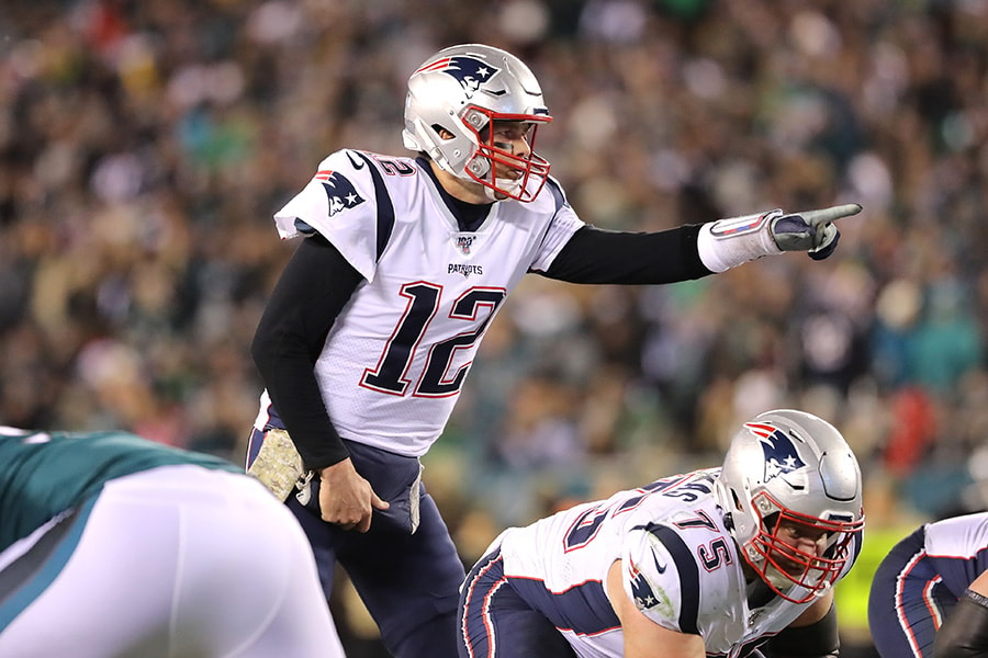 Tom Brady of the New England Patriots gestures during the first half against the Philadelphia Eagles at Lincoln Financial Field on November 17, 2019 in Philadelphia, Pennsylvania. (Photo by Elsa/Getty Images)