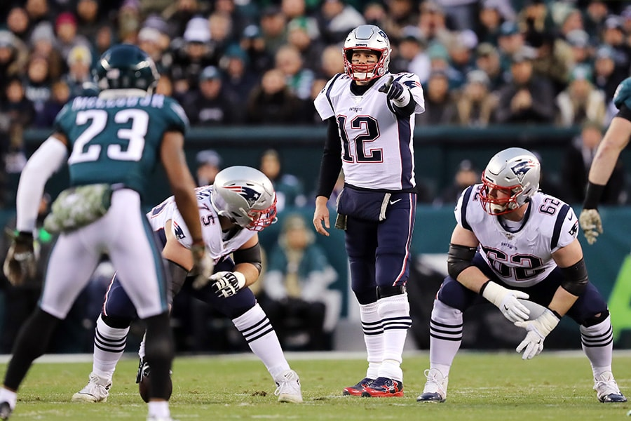 Tom Brady of the New England Patriots reacts prior to the snap during the first half against the Philadelphia Eagles at Lincoln Financial Field on November 17, 2019 in Philadelphia, Pennsylvania. (Photo by Elsa/Getty Images)