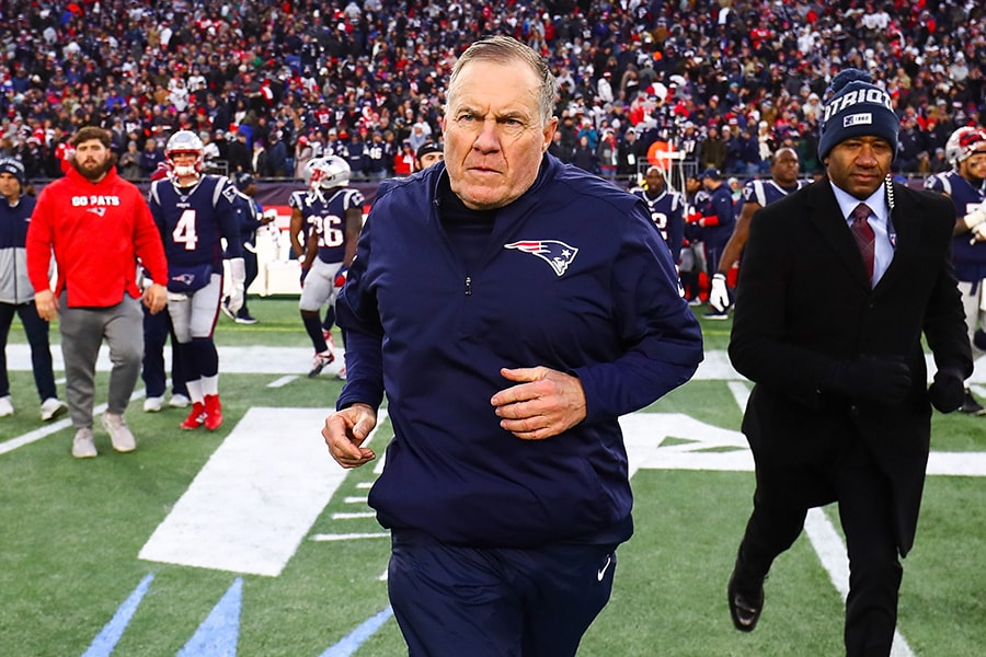 FOXBOROUGH, MA - DECEMBER 29: Head coach Bill Belichick of the New England Patriots runs onto the field after a loss to the Miami Dolphins at Gillette Stadium on December 29, 2019 in Foxborough, Massachusetts. (Photo by Adam Glanzman/Getty Images)