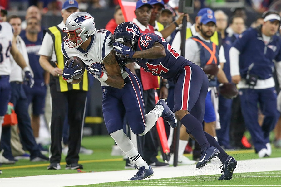 Dec 1, 2019; Houston, TX: New England Patriots wide receiver Jakobi Meyers is pushed out of bounds by Houston Texans cornerback Johnathan Joseph in the second quarter at NRG Stadium. (Thomas B. Shea-USA TODAY Sports)