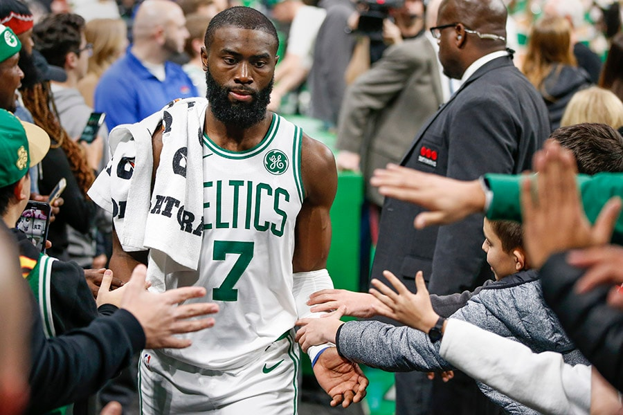 Dec 4, 2019; Boston, MA: Boston Celtics guard Jaylen Brown greets fans after defeating the Miami Heat at TD Garden. (Greg M. Cooper-USA TODAY Sports)