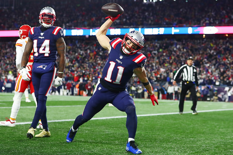 Julian Edelman of the New England Patriots celebrates scoring a touchdown during the first quarter against the Kansas City Chiefs in the game at Gillette Stadium on December 08, 2019 in Foxborough, Massachusetts. (Photo by Adam Glanzman/Getty Images)