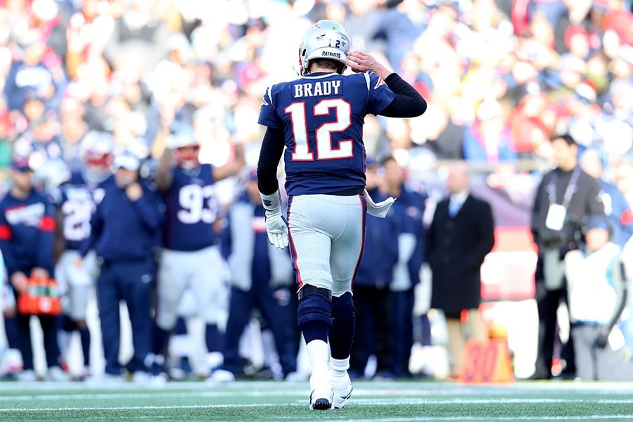 FOXBOROUGH, MASSACHUSETTS - DECEMBER 29: Tom Brady #12 of the New England Patriots walks off the field during the game against the Miami Dolphins at Gillette Stadium on December 29, 2019 in Foxborough, Massachusetts. (Photo by Maddie Meyer/Getty Images)