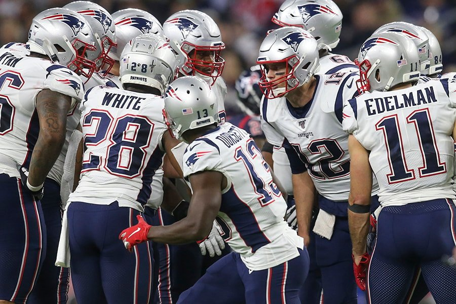 Dec 1, 2019; Houston, TX: New England Patriots quarterback Tom Brady calls a play against the Houston Texans in the second half at NRG Stadium. (Thomas B. Shea-USA TODAY Sports)