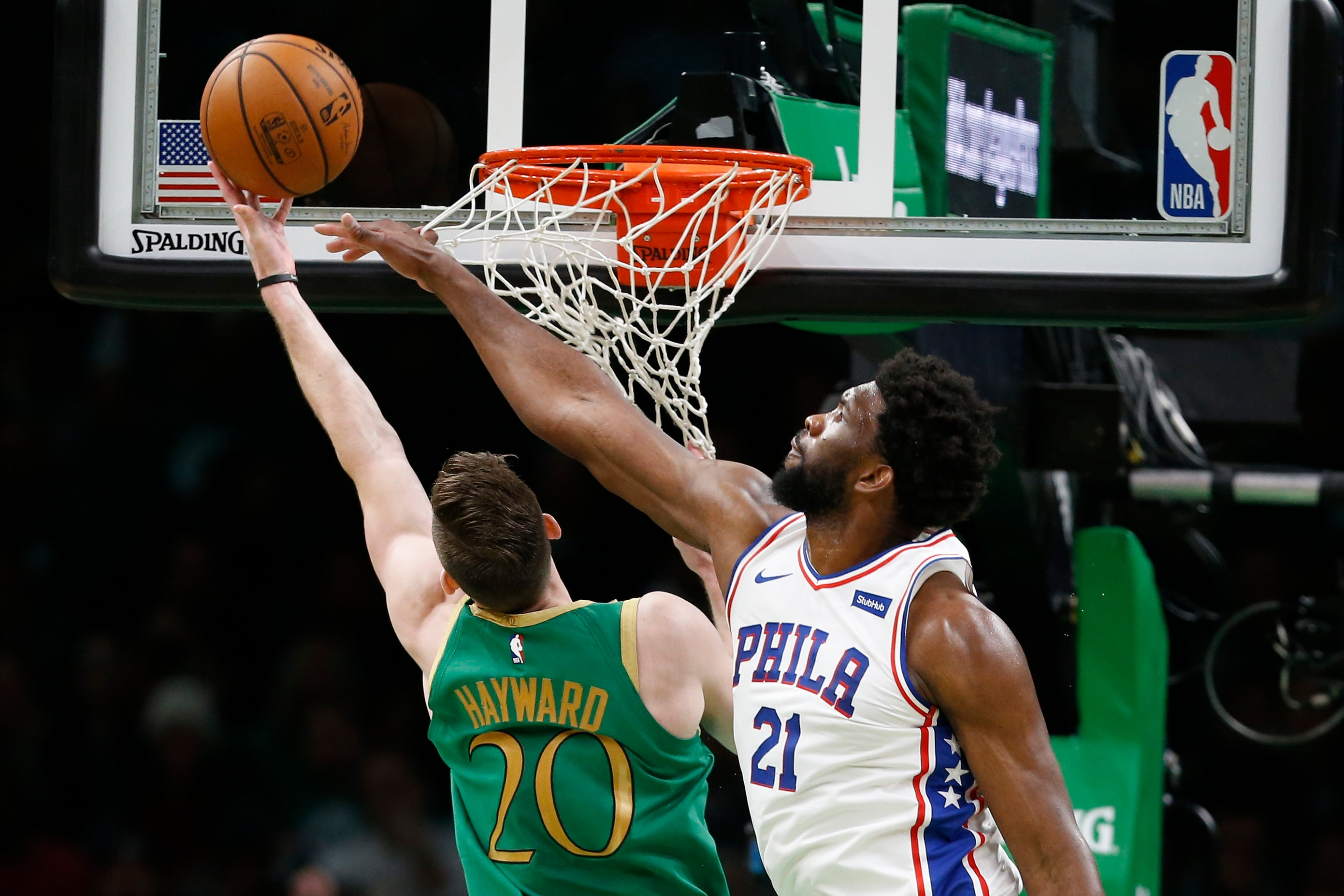 Dec 12, 2019; Boston, MA, USA; Boston Celtics guard Gordon Hayward (20) takes a shot while guarded by Philadelphia 76ers center Joel Embiid (21) during the second half at TD Garden. Mandatory Credit: Greg M. Cooper-USA TODAY Sports