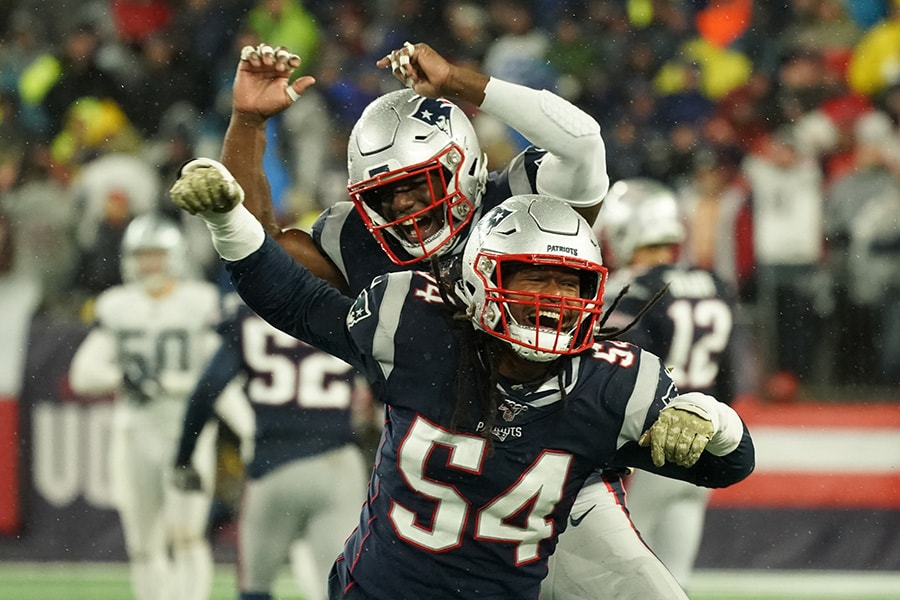 Nov 24, 2019; Foxborough, MA, USA; New England Patriots outside linebacker Dont'a Hightower (54) and cornerback Jonathan Jones (31) react after a missed first down by the Dallas Cowboys in the second half at Gillette Stadium. Patriots defeated the Cowboys 13-9. Mandatory Credit: David Butler II-USA TODAY Sports