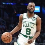 Jan 8, 2020; Boston, Massachusetts, USA; Boston Celtics guard Kemba Walker (8) controls the ball during the first half against the San Antonio Spurs at TD Garden. Mandatory Credit: Bob DeChiara-USA TODAY Sports