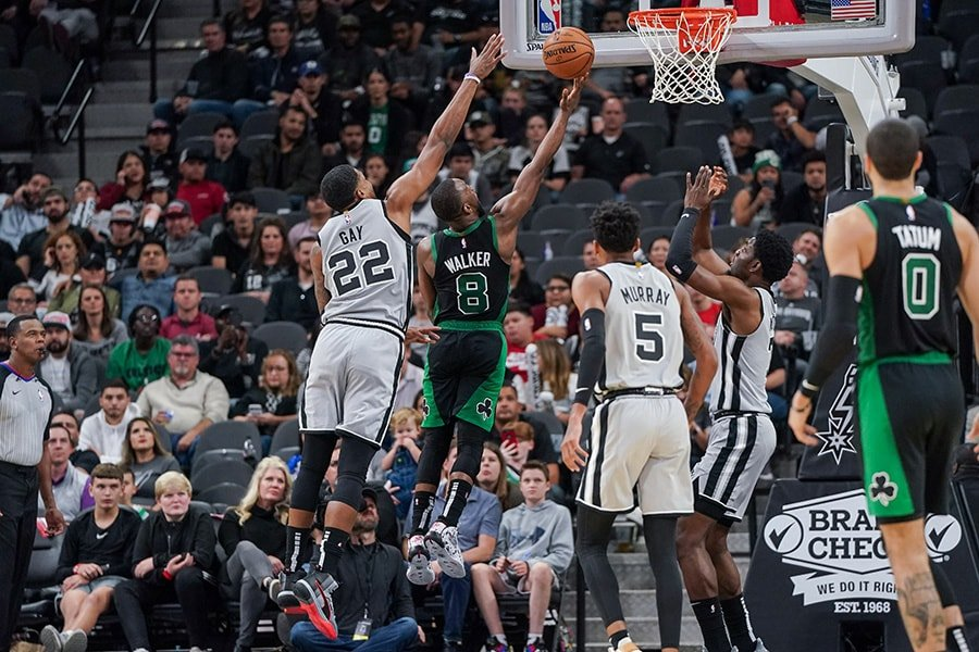 Nov 9, 2019; San Antonio, TX, USA; Boston Celtics guard Kemba Walker (8) shoots in front of San Antonio Spurs forward Rudy Gay (22) during the second half at the AT&T Center. Mandatory Credit: Daniel Dunn-USA TODAY Sports
