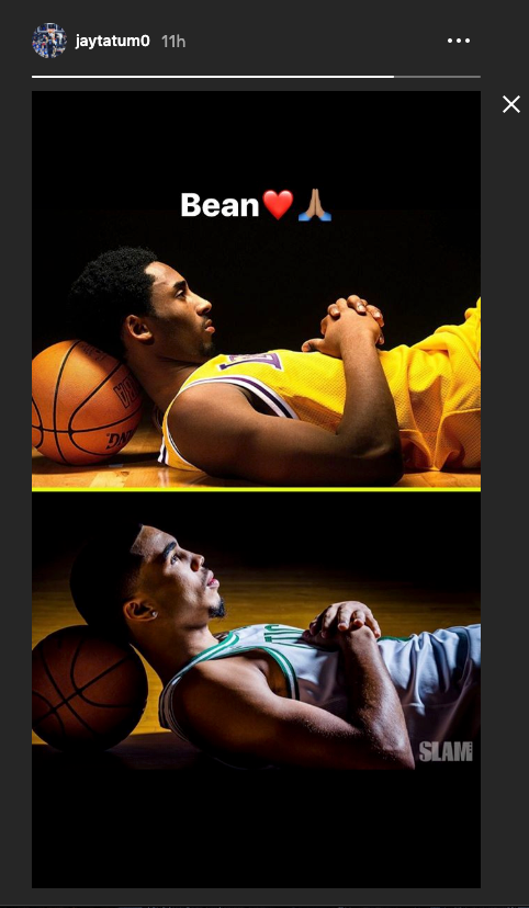 Jayson Tatum honors Kobe Bryant in his Instagram story. (@jaytatum0 on Instagram)