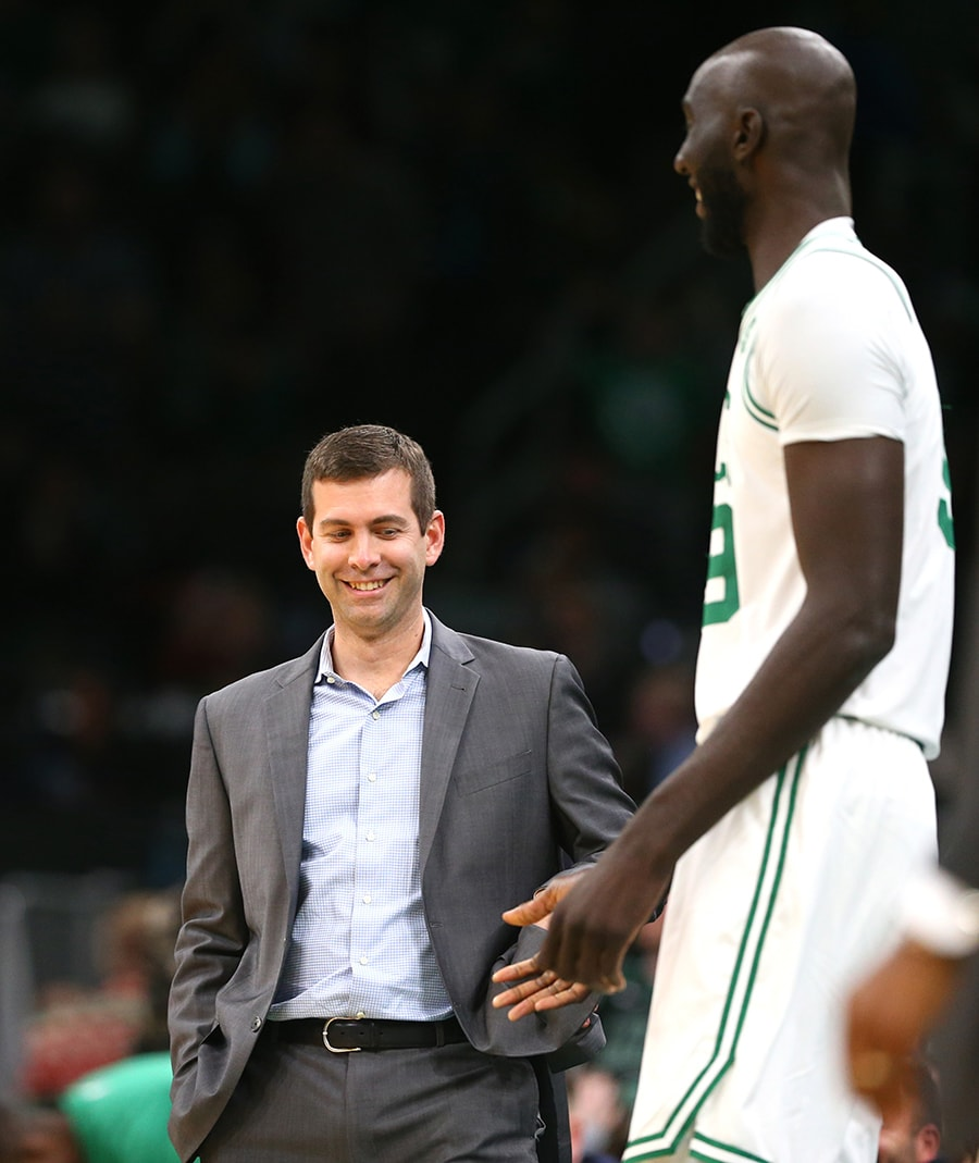 BOSTON, MASSACHUSETTS - DECEMBER 20: Head Coach Brad Stevens of the Boston Celtics calls Tacko Fall #99 into the game against the Detroit Pistons at TD Garden on December 20, 2019 in Boston, Massachusetts. The Celtics defeat the Pistons 114-93. NOTE TO USER: User expressly acknowledges and agrees that, by downloading and or using this photograph, User is consenting to the terms and conditions of the Getty Images License Agreement. (Photo by Maddie Meyer/Getty Images)
